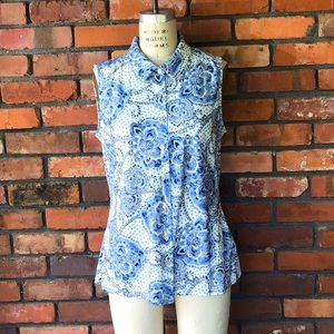 Tommy Hilfiger Blue White Large Stretch Blouse